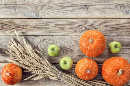 Background with pumpkins, green apples and ears of wheat on the old wooden boards. Agricultural harvest. Space for text. View from above. 写真素材