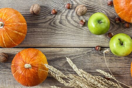 Background with pumpkins, nuts, apples and ears of wheat on old wooden boards. Space for text. View from above. 写真素材