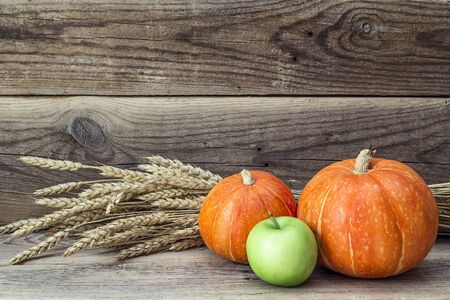 Still-life with orange pumpkin, green apple and ears of wheat on a background of an old wooden boards. Agricultural harvest. Space for text.
