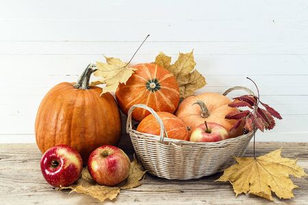 Still life with pumpkins and apples in the basket and autumn leaves. White wooden background. Space for text. Happy Thanksgiving background. 写真素材