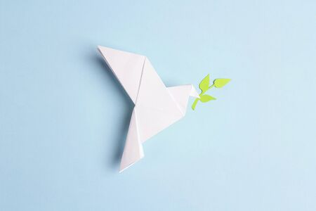 Paper origami dove of peace with olive branch on a blue background. World Peace Day concept.