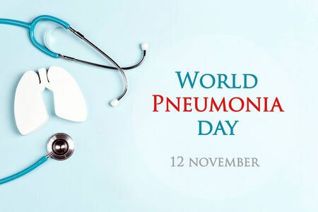 World pneumonia day concept with lungs and stethoscope on a blue background. Healthcare and medical campaign.