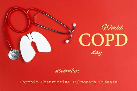 World COPD day concept with lung symbol and stethoscope on a red background. Banner for medical campaign against chronic obstructive pulmonary disease in november.