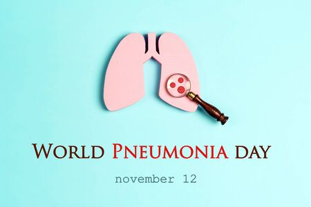 Banner for World Pneumonia Day with lungs and bacteria causing disease in a magnifier on a blue background. Healthcare and medical campaign. Reklamní fotografie
