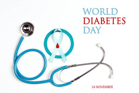 World Diabetes Day banner with a stethoscope, blue circlel, ribbon and drop of blood as a symbol of diabetes on a white background. World diabetes day concept, 14 november.
