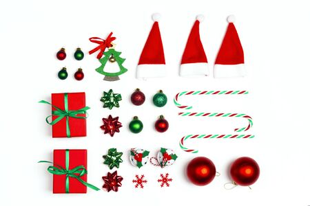 Christmas set of gifts, decorations and candy canes on white background. Flat Lay.