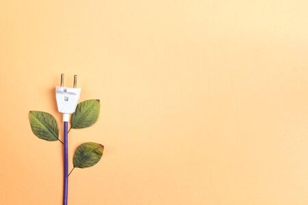 Electrical plug with leaves like a plant. Eco, bio, energy saving concep. Copy space, flat lay, top view.