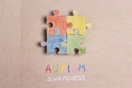 Autism Awareness Day. Colorful puzzle in autism awareness day.