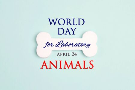 World Day for Laboratory Animals, 24 april. White bone with an inscription on a blue background. Stop the cruelty. Stop animal testing. Zdjęcie Seryjne