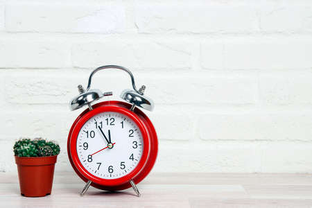 Classic red alarm clock with houseplant in flowerpot against the white brick wall. Copy space for text.