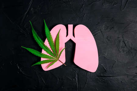 Human lungs with marijuana leaf on black background. Medical marijuana symbol. Treatment of lungs disease. Cannabis as herbal alternative medicine, healthcare and medical science.