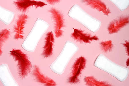 Menstrual pads with red feathers on pink background. Menstruation cycle period, woman hygiene.