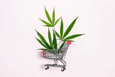 Shopping trolley and marijuana leaves on white background. Legal cannabis concept.