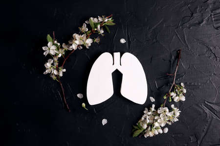 Lungs symbol with apple blossom branches on black background. Healthcare, medicine, hospital, diagnostic, internal donor organ.