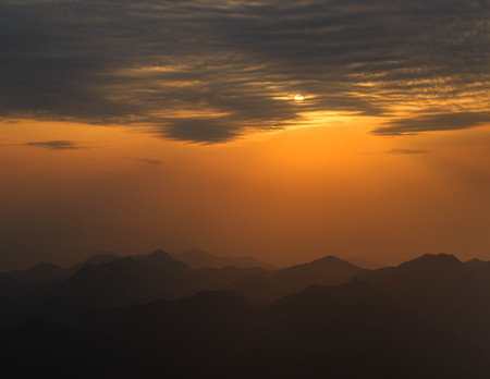 nature scenery: Nature scenery of mountain during the sunset