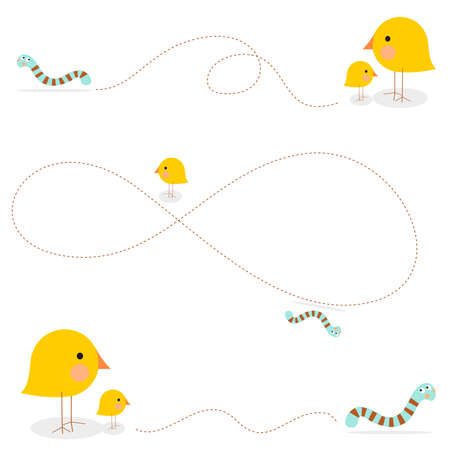 scenarios: A parent bird teaches a little one how to hunt a caterpillar for lunch, in 3 different scenarios. Illustration