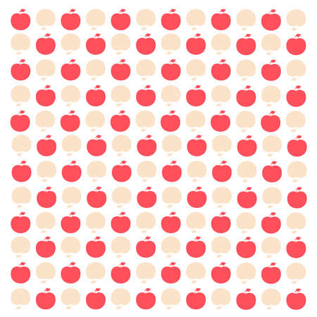 white background: A vintage inspired, but original, mini apple design, in peach, pink and white, that makes a sweet background. Illustration