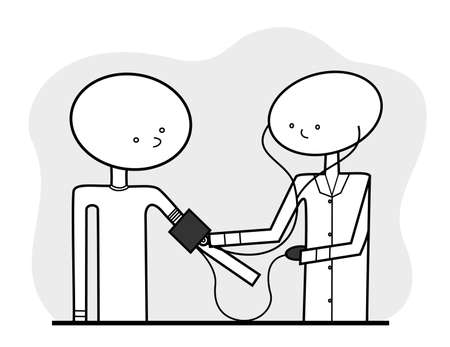 A simple illustration communicating the situation of a generic nurse or doctor taking a generic patients blood pressure, line drawn in a neutral color scheme.  Can be additionally colored as desired.