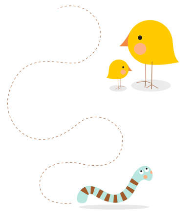 cheeks: A sweet illustration suitable for children depicting a mom and baby bird - with peach cheeks - following a worm or caterpillar to catch it for lunch, communicating the concept of a lesson in life; in a yellow, blue and brown muted color scheme.