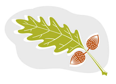 fall of the leaves: A sweet acorn and oak leaf design in woodcut style