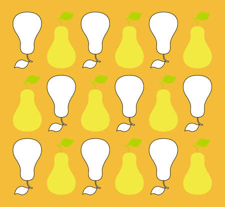 analogous: A vintage-inspired yellow & white pear background