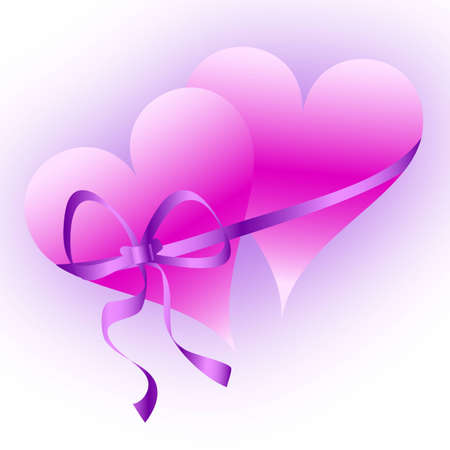 romance: Two pink hearts tied with a shiny purple ribbon-raster