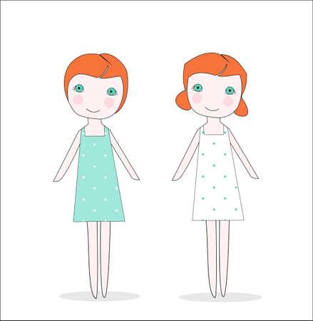 Tweeling meisjes met rode kop, of poppen, in jurken met een patroon