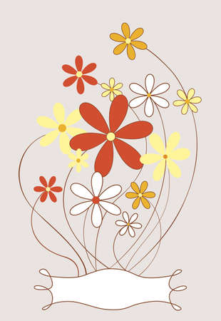 hand drawn flower: Daisies and a doodled label in vintage-orange