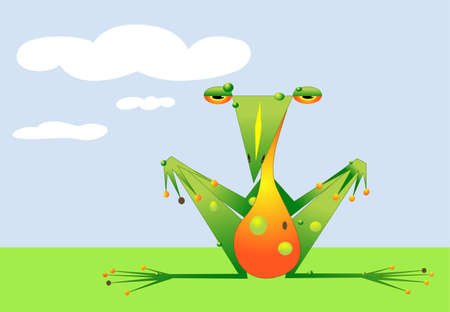 chilling: A cartoon frog is chilling in a field on a sunny day