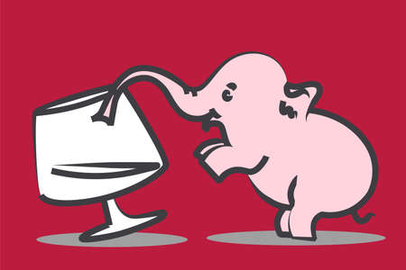 drunkenness: Tiny pink elephant drinks from wineglass - drunkenness