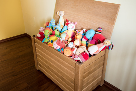 soft toys: Toy Box full of soft toys in a childs bedroom