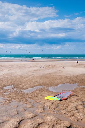 kiting: kitesurfers and windsurfers in Wissant Beach, France