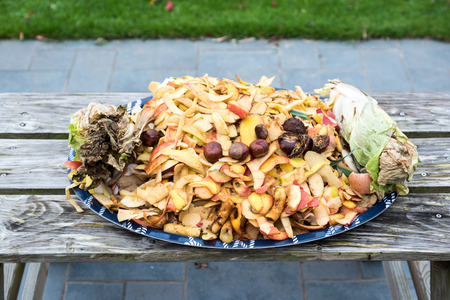 composting: Composting the Kitchen Waste Stock Photo