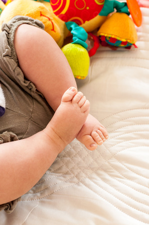 baby's feet: Babys feet with soft toy