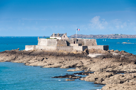 fortify: Saint Malo, Fort National and beach during hight tide. Brittany, France, Europe.