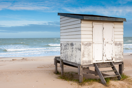 calais: beach hut on the shore in Calais, France. Stock Photo