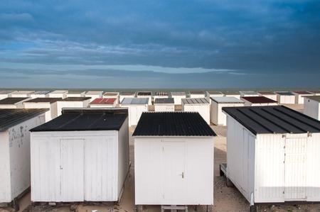 calais: beach huts on the shore in Calais, France. Stock Photo