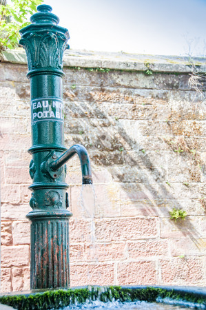 potable: No potable water in a fountain against the wall