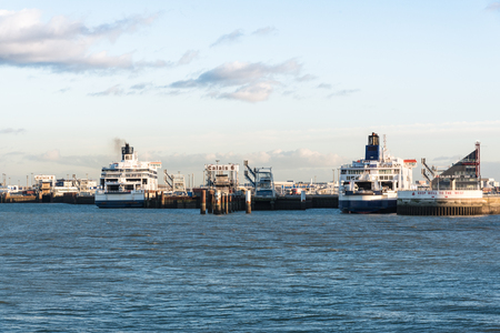 calais: Ferryboat in the Port of Calais, FRANCE, sailing between Dover and Calais each day. Stock Photo