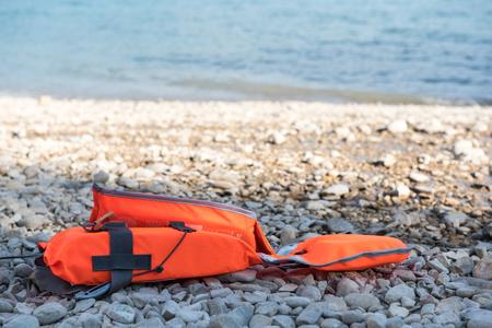 Safety jacket on a beach