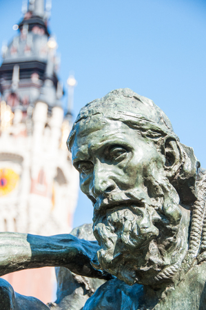 The Burghers of Calais , one of the most famous sculptures by Auguste Rodin, Stock Photo