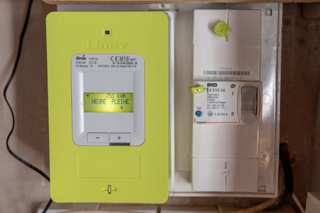 Paris, France - May  04, 2018 : New smart electric meter Linky from ERDF (Electricity Network Distribution France)