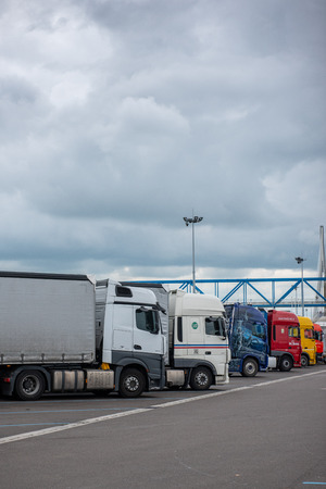 Le Havre, France - May  04, 2018 : Trucks parked on a highway rest stop