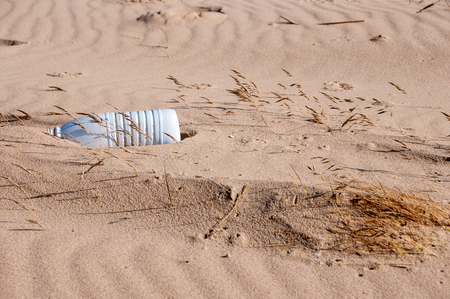 Plastic bottle washed up on a beach.