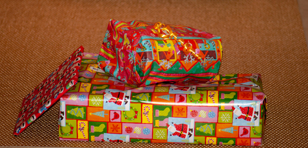 Christmas gifts in colorful packaging