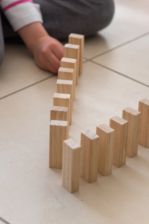 Wood blocks stack game using as background education concept