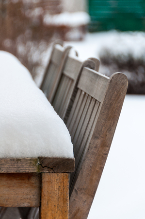 Snow on a garden table in winter
