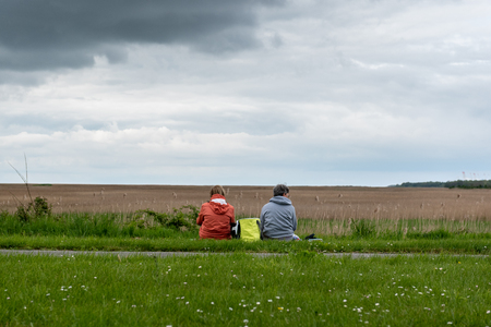 two women with picnic in the countryside Imagens