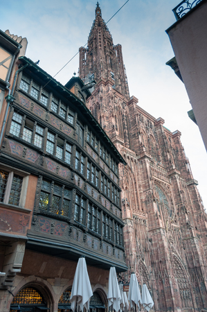 historical half-timbered houses in Strasbourg city center, Alsace, France