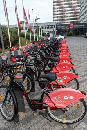 Lille, France - October 12, 2018 : Self-service bikes, integrated with the public transport network of Lille, France Editorial